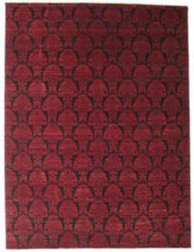 Damask Matta 274X365 Äkta Modern Handknuten Mörkröd/Mörkbrun Stor ( Indien)