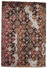 Damask Matta 122X179 Äkta Modern Handknuten Mörkröd/Rosa ( Indien)