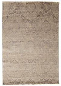 Damask Matta 165X242 Äkta Modern Handknuten Ljusgrå ( Indien)
