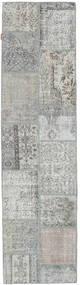 Patchwork Matta 79X301 Äkta Modern Handknuten Hallmatta Ljusgrå (Ull, Turkiet)