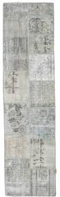 Patchwork Matta 79X301 Äkta Modern Handknuten Hallmatta Ljusgrå/Turkosblå (Ull, Turkiet)