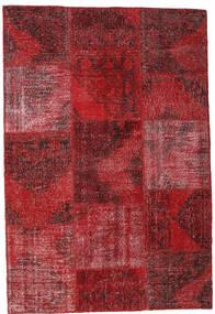 Patchwork Matta 158X232 Äkta Modern Handknuten Mörkröd/Röd (Ull, Turkiet)