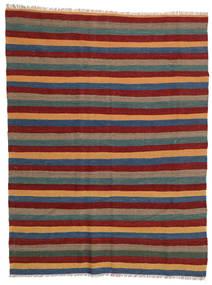 Kelim Matta 169X223 Äkta Orientalisk Handvävd Mörkröd/Mörkgrå (Ull, Persien/Iran)
