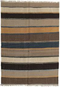 Kelim Matta 142X203 Äkta Orientalisk Handvävd Ljusgrå/Ljusbrun/Mörkgrå/Svart (Ull, Persien/Iran)
