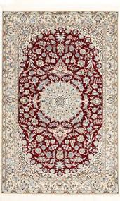 Nain 6La Habibian Matta 120X190 Äkta Orientalisk Handknuten Ljusgrå/Mörkröd/Beige (Ull/Silke, Persien/Iran)