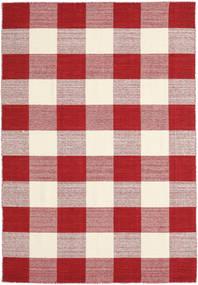 Check Kilim - Röd/Vit Matta 160X230 Äkta Modern Handvävd Röd/Beige/Ljusrosa (Ull, Indien)