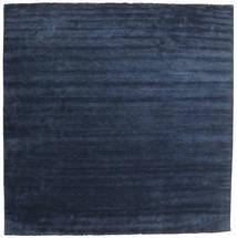 Handloom Fringes - Mörkblå Matta 400X400 Modern Kvadratisk Mörkblå/Blå Stor (Ull, Indien)