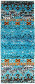 Quito - Turkos Matta 80X200 Äkta Modern Handknuten Hallmatta Turkosblå/Ljusgrå (Silke, Indien)
