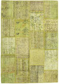 Patchwork Matta 159X231 Äkta Modern Handknuten Olivgrön/Gul (Ull, Turkiet)