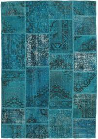 Patchwork Matta 159X231 Äkta Modern Handknuten Mörk Turkos/Mörkblå (Ull, Turkiet)