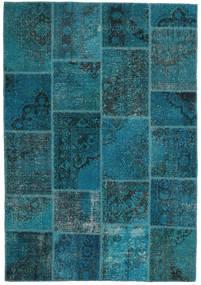 Patchwork Matta 159X230 Äkta Modern Handknuten Mörkblå/Mörk Turkos (Ull, Turkiet)
