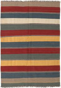 Kelim Matta 135X197 Äkta Orientalisk Handvävd Mörkröd/Blå (Ull, Persien/Iran)