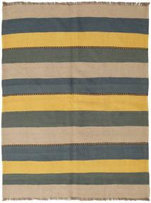 Kelim Matta 145X194 Äkta Orientalisk Handvävd Blå/Gul (Ull, Persien/Iran)