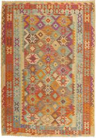 Kelim Afghan Old Style Matta 204X291 Äkta Orientalisk Handvävd Ljusbrun/Mörkbeige (Ull, Afghanistan)