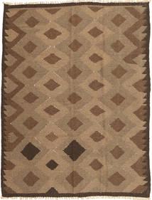 Kelim Matta 143X191 Äkta Orientalisk Handvävd Brun/Ljusbrun (Ull, Persien/Iran)