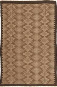 Kelim Matta 156X244 Äkta Orientalisk Handvävd Brun/Mörkbrun (Ull, Persien/Iran)
