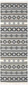 Kelim Cizre Matta 80X350 Äkta Modern Handvävd Hallmatta Ljusgrå/Mörkgrå (Ull, Indien)
