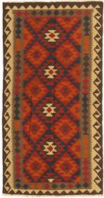 Kelim Maimane Matta 99X194 Äkta Orientalisk Handvävd Roströd/Mörkbrun (Ull, Afghanistan)