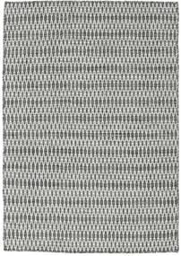 Kelim Long Stitch - Svart/Grå Matta 140X200 Äkta Modern Handvävd Ljusgrå/Mörkgrå (Ull, Indien)
