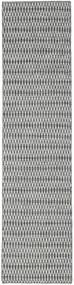 Kelim Long Stitch - Svart/Grå Matta 80X340 Äkta Modern Handvävd Hallmatta Ljusgrå/Turkosblå (Ull, Indien)