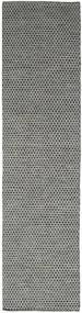 Kelim Honey Comb - Svart/Grå Matta 80X340 Äkta Modern Handvävd Hallmatta Mörkgrå/Ljusgrå (Ull, Indien)
