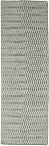 Kelim Long Stitch - Grå Matta 80X240 Äkta Modern Handvävd Hallmatta Ljusgrå/Mörkgrå (Ull, Indien)