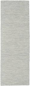Kelim Honey Comb - Grå Matta 80X240 Äkta Modern Handvävd Hallmatta Ljusgrå/Beige (Ull, Indien)