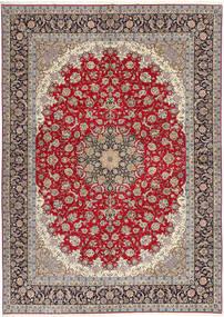 Isfahan Silkesvarp Matta 300X417 Äkta Orientalisk Handknuten Ljusgrå/Mörkröd Stor (Ull/Silke, Persien/Iran)