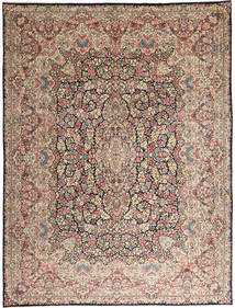 Kerman Matta 290X387 Äkta Orientalisk Handknuten Ljusgrå/Mörkbrun Stor (Ull, Persien/Iran)