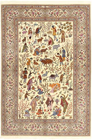 Ilam Sherkat Farsh Silke Matta 150X220 Äkta Orientalisk Handknuten Beige/Brun/Ljusbrun (Ull/Silke, Persien/Iran)
