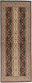 Tabriz 50 Raj Matta 80X214 Äkta Orientalisk Handknuten Hallmatta Brun/Ljusbrun/Mörkbrun (Ull/Silke, Persien/Iran)