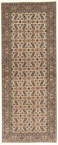 Tabriz 50 Raj Matta 80X208 Äkta Orientalisk Handknuten Hallmatta Ljusbrun/Ljusgrå (Ull/Silke, Persien/Iran)