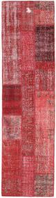 Patchwork Matta 81X300 Äkta Modern Handknuten Hallmatta Mörkröd/Röd (Ull, Turkiet)