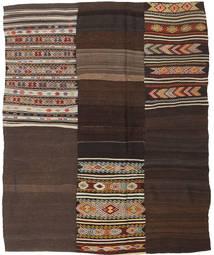 Kelim Patchwork Matta 198X239 Äkta Modern Handvävd Mörkbrun (Ull, Turkiet)