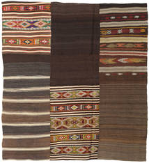 Kelim Patchwork Matta 187X207 Äkta Modern Handvävd Mörkbrun/Brun (Ull, Turkiet)