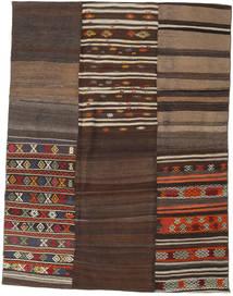 Kelim Patchwork Matta 178X234 Äkta Modern Handvävd Mörkbrun/Brun (Ull, Turkiet)