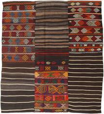 Kelim Patchwork Matta 195X222 Äkta Modern Handvävd Mörkbrun (Ull, Turkiet)