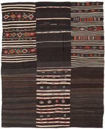 Kelim Patchwork Matta 193X238 Äkta Modern Handvävd Mörkbrun/Ljusgrå (Ull, Turkiet)