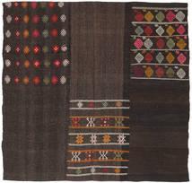 Kelim Patchwork Matta 203X207 Äkta Modern Handvävd Kvadratisk Mörkbrun (Ull, Turkiet)