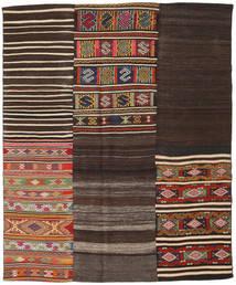 Kelim Patchwork Matta 194X234 Äkta Modern Handvävd Mörkbrun/Mörkröd (Ull, Turkiet)