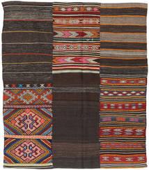 Kelim Patchwork Matta 198X234 Äkta Modern Handvävd Mörkbrun (Ull, Turkiet)