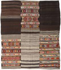 Kelim Patchwork Matta 214X250 Äkta Modern Handvävd Mörkbrun/Ljusgrå (Ull, Turkiet)