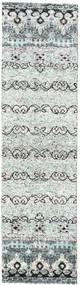 Quito - Grå Matta 80X300 Äkta Modern Handknuten Hallmatta Beige/Ljusgrå (Silke, Indien)
