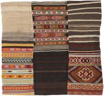 Kelim Patchwork Matta 214X222 Äkta Modern Handvävd Kvadratisk Mörkbrun/Ljusbrun (Ull, Turkiet)