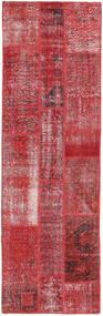 Patchwork Matta 80X257 Äkta Modern Handknuten Hallmatta Mörkröd/Röd (Ull, Turkiet)