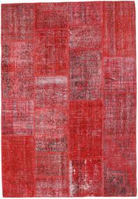 Patchwork Matta 160X231 Äkta Modern Handknuten Röd/Roströd (Ull, Turkiet)