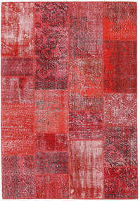 Patchwork Matta 160X232 Äkta Modern Handknuten Röd/Roströd (Ull, Turkiet)