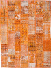 Patchwork Matta 276X368 Äkta Modern Handknuten Orange/Ljusbrun Stor (Ull, Turkiet)