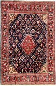 Hamadan Shahrbaf Matta 210X325 Äkta Orientalisk Handknuten Mörkröd/Mörkbrun/Brun (Ull, Persien/Iran)