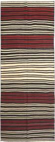 Kelim Fars Matta 155X407 Äkta Orientalisk Handvävd Hallmatta Svart/Mörkbrun (Ull, Persien/Iran)